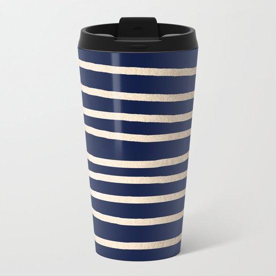 Drawn Stripes White Gold Sands on Nautical Navy Blue Metal Travel Mug