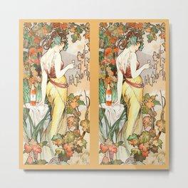 "Alphonse Mucha ""Cognac Bisquit"" Metal Print"