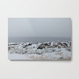 Snow on Sea Metal Print