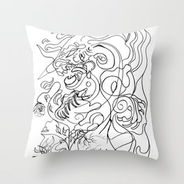 Dragon with rose Throw Pillow