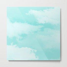 Turquoise white teal modern clouds pattern Metal Print