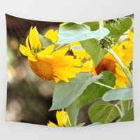 sunflowers Wall Tapestries featuring SUNFLOWERS :) by Teresa Chipperfield Studios