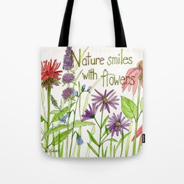 Nature Smiles with Flowers Watercolor Illustration Tote Bag
