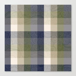 Chambray Fiord Swirly Plaid Canvas Print