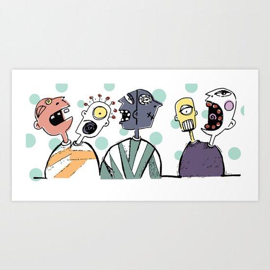 Crazy Heads in Sweaters Art Print