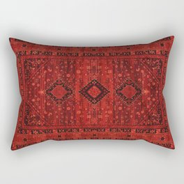 Red Traditional Oriental Moroccan & Ottoman Style Artwork. Rectangular Pillow