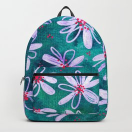 Daisy Flowers   Whimsical Watercolor Daisies on Cyan BlueTeal Backpack