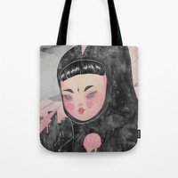 loll3 Tote Bags featuring CuteZilla by lOll3