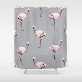 Simply Flamingo on Concrete Gray Shower Curtain