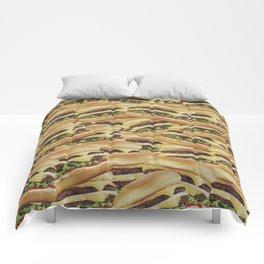Vintage Cheeseburger Pile Print Comforters