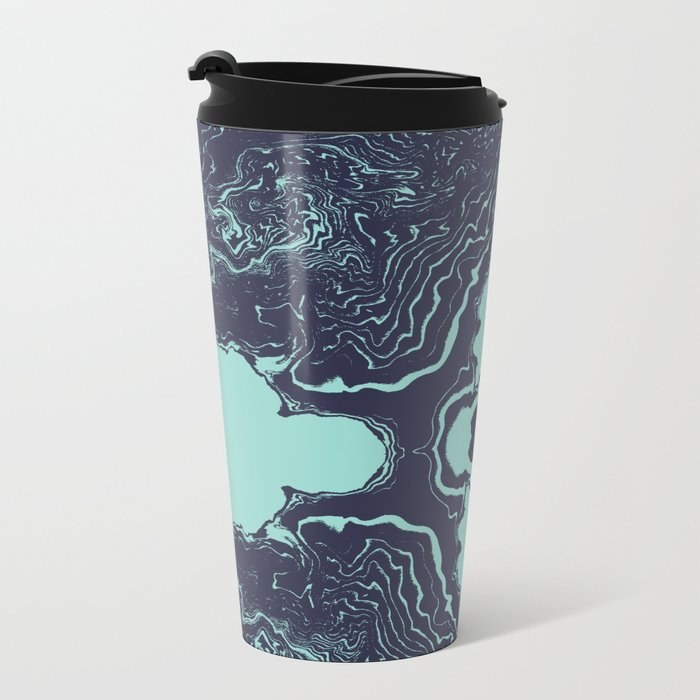 Shinzi - spilled ink abstract painting marble japanese paper marbling unique original art print Metal Travel Mug