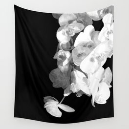 White Orchids Black Background Wall Tapestry