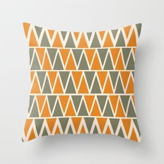 Green And Orange Triangles  Throw Pillow