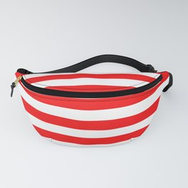 Large Berry Red and White Rustic Horizontal Tent Stripes Fanny Pack