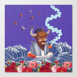 Buffalo in the sea Canvas Print