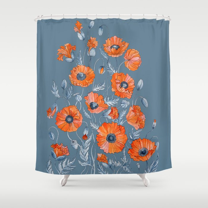 Red Poppies In Grey Shower Curtain