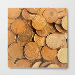 Watercolor Coins, Lincoln Wheat Pennies, 1952 01 Metal Print