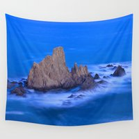 mermaids Wall Tapestries featuring Blue mermaids by Guido Montañés