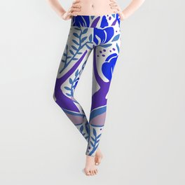Floral Antlers – Blue Palette Leggings