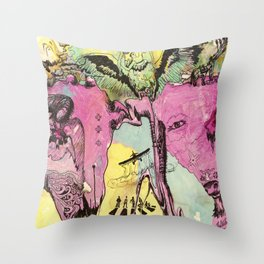 #102 Colombia, Vultures Everywhere Throw Pillow