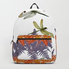 DRAGONFLIES & PURPLE-BROWN WOODLAND FERNS  ABSTRACT Backpack
