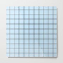 Black Grid on Pale Blue Metal Print