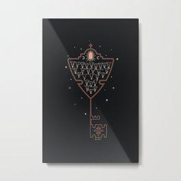 Key to Tejas - Black & Neon Peach Metal Print