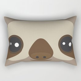 funny and cute smiling Three-toed sloth on brown background Rectangular Pillow