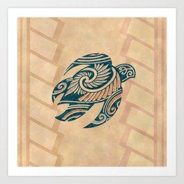 Vintage Hawaiian Tribal Turtle Art Print