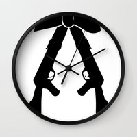 bow Wall Clocks featuring Bow by Panic Junkie