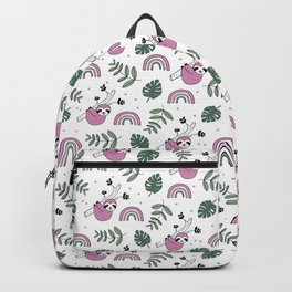 Sweet baby sloth kawaii girls jungle leaves pattern pink green Backpack