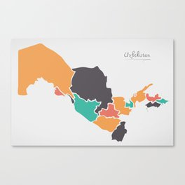 Uzbekistan Map with states and modern round shapes Canvas Print
