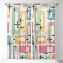 Retro Mid Century Modern Abstract Pattern 242 Sheer Curtain