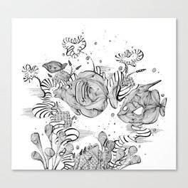 Underwater Tropical Fish Line Art Canvas Print