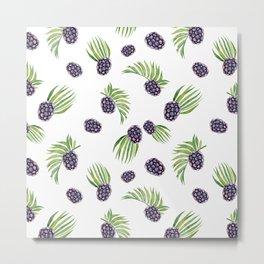 Hand painted black green watercolor fruity blackberries Metal Print