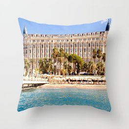The Always Chic Carlton Hotel in Cannes Throw Pillow