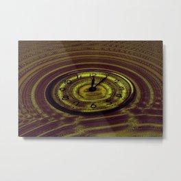 Hands of Time Yellow Rippling Water Art Motif Metal Print