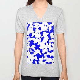 Large Spots - White and Blue Unisex V-Neck