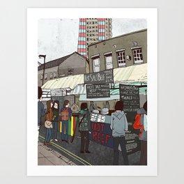 A stroll down Broadway Market Art Print