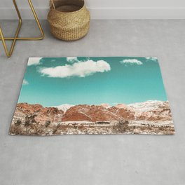 Vintage Red Rocks // Snow in the Mojave Desert Clouds Teal Sky Mountain Range Landscape Rug