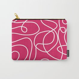 Doodle Line Art | White Lines on Deep Pink Carry-All Pouch