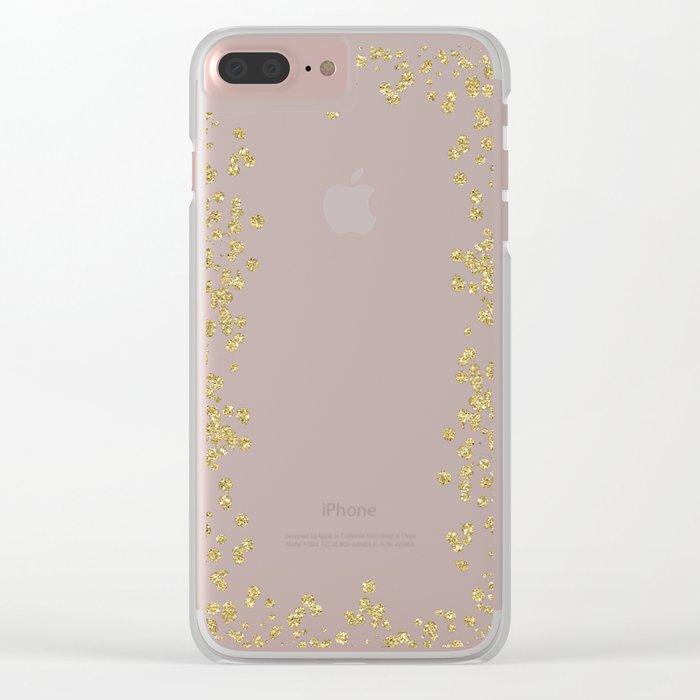 Sparkling golden glitter confetti - Luxury design Clear iPhone Case