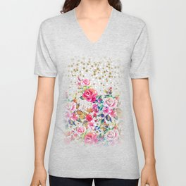 Modern watercolor spring floral and gold dots pattern Unisex V-Neck