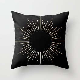 Sunburst Gold Copper Bronze on Black Throw Pillow