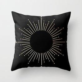 Sunburst Gold Copper Bronze on Black Throw Pillow