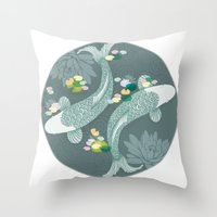 koi Throw Pillows featuring Koi by Amanda Dilworth