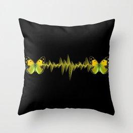 Pulse - Yellow butterflies sound waves Throw Pillow