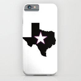 Texas state map with integrated texas star US iPhone Case