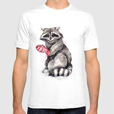 Pensive Raccoon in Red Mittens. Winter Season. Mens Fitted Tee White SMALL