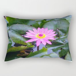 Sun-kissed Lotus blooms and awakens up on a mountain in Vietnam Rectangular Pillow
